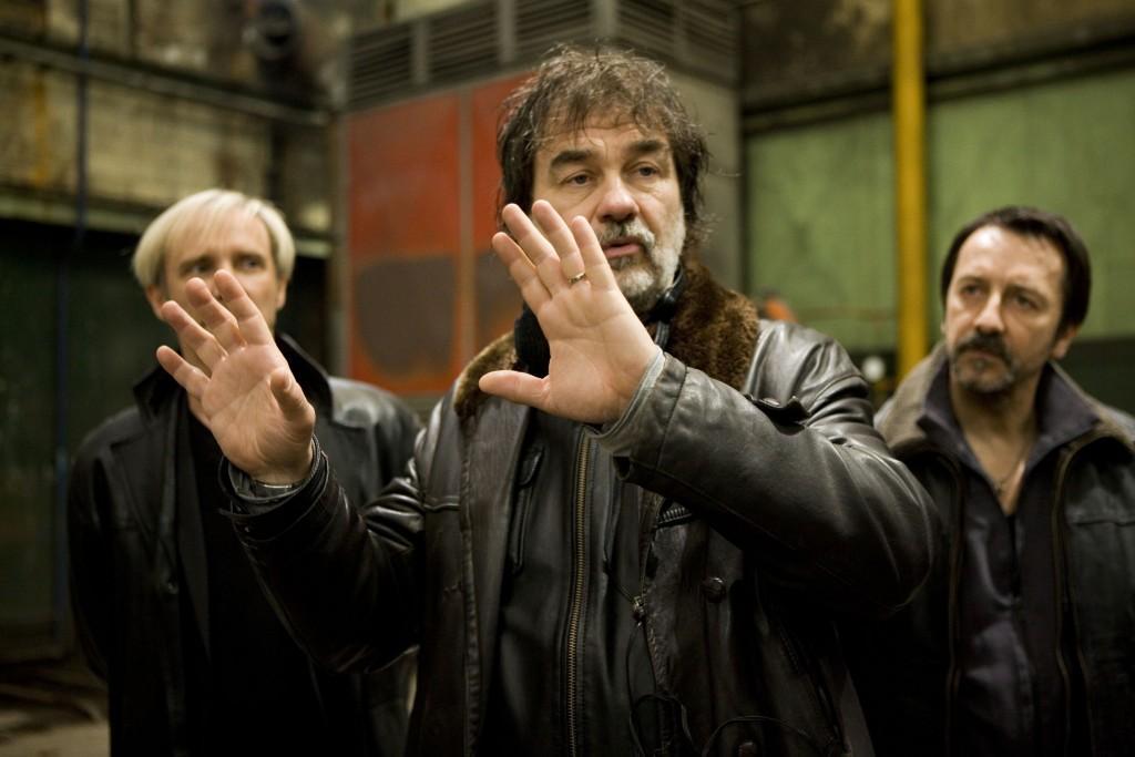 Geoffroy Thiebaut (Roland Vogel), Le Réalisateur Olivier Marchal et Jean-Hugues Anglade (dans le rôle de Eddy Caplan) sur le tournage