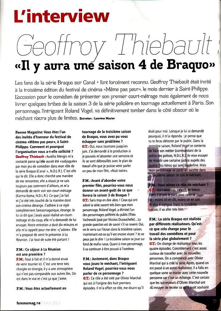 Interview pour Femmemag.re // Mars 2013