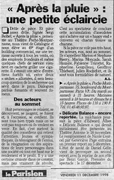 Après la pluie // Presse Théâtre